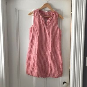 Pink and White Striped Sleeveless Summer Dress
